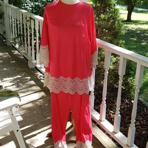 Vintage Hot Pink 1960s Pajamas Lounge Set Large